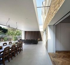 Private Home in Chiswick, London - modern - Dining Room - London - Found Associates Borrowed Light, Glass Extension, Rear Extension, Roof Architecture, Roof Light, House Extensions, Building A House, New Homes, House Design