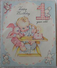 Vintage Forget Me not Pop Up Birthday Card Happy Birthday 1 Year Old | eBay