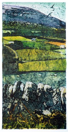 Barns and walls, upper Swaledale - Suzie Mackenzie Hand-coloured collagraph Contemporary Landscape, Abstract Landscape, Landscape Paintings, Collage Landscape, A Level Art, Gravure, Art Techniques, Poster, Fine Art
