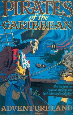 Affiche - Pirates of the Caribbean - Disneyland Paris Posters Disney Vintage, Disneyland Vintage, Retro Disney, Cute Disney, Hello Disneyland, Disney Parks, Disney Rides, Disney Land, Disney Magic