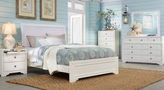 picture of Belcourt White 5 Pc King Upholstered Bedroom from  Furniture