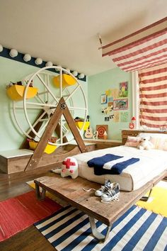 Детская в цветах: желтый, светло-серый, белый, коричневый, бежевый. Детская в стиле американский стиль.
