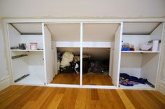 The best under-eaves wardrobe hack yet - IKEA Hackers - Under-eaves wardrobe. - The best under-eaves wardrobe hack yet - IKEA Hackers - Under-eaves wardrobe IKEA METOD hack - - Attic Bedroom Storage, Attic Master Bedroom, Loft Storage, Upstairs Bedroom, Closet Bedroom, Eaves Bedroom, Attic Bedroom Small, Attic Bedroom Designs, Attic Bedrooms