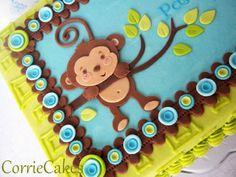 Monkey Birthday Cakes for Boys | 1st Birthday Cake Decor Photograph | Monkey 1st birthday - b