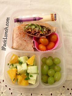 Hamburger Wrap, Cheese Stick, Grapes, Cherry Tomatoes, Cucumber-Orange Salad...