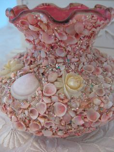❥ repurposed shell vase