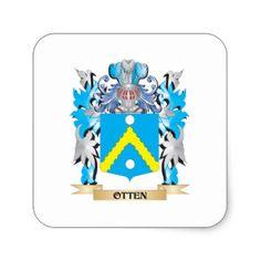 Ottens family crest   Otten Wappen - Familienwappen Quadratischer Aufkleber