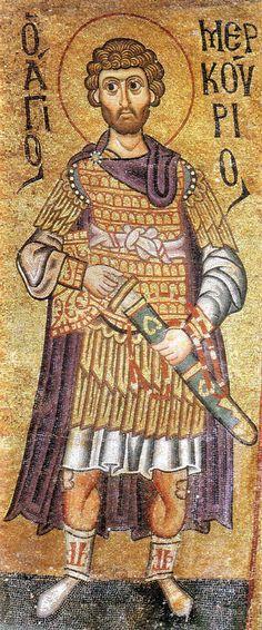 Saint Mercurios as a military saint, Hosios Loukas Monastery, Boeotia, Greece