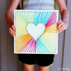 Floral Card Kit Test out your string art skills by surprising Mom with this beautiful craft on Mother's Day.Test out your string art skills by surprising Mom with this beautiful craft on Mother's Day. Kids Crafts, Bee Crafts, Easy Crafts, Diy And Crafts, Craft Projects, Arts And Crafts, Crafts With Yarn, Sewing Projects, Art Diy
