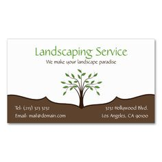 Landscaping Service Elegant Tree Nature Logo Double-Sided Standard Business Cards (Pack Of 100). Make your own business card with this great design. All you need is to add your info to this template. Click the image to try it out!