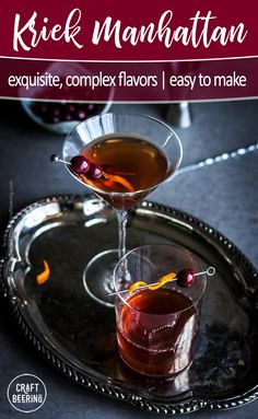 Easy Manhattan cocktail with rye whiskey and kriek (sour cherry lambic). Super easy to mix, complex flavors and so light to drink. Easy Cocktails, Classic Cocktails, Drinks, Cocktail Recipes, Beverages, Lambic Beer, Bourbon Cherries, Manhattan Cocktail, Drinking