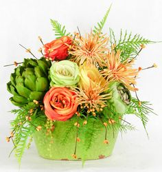 Rose Artichoke Arrangement Contemporary Flower Arrangements, White Flower Arrangements, Silk Floral Arrangements, Floral Centerpieces, Next Flowers, White Flowers, Beautiful Flowers, Flowers Garden, Flowers Bucket