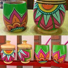 Pots D'argile, Decorative Wooden Boxes, Painted Flower Pots, Yerba Mate, Mandala Painting, Clay Art, Decoupage, Craft Projects, Pottery