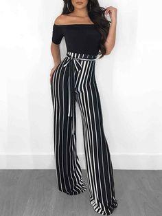 ivrose / Off Shoulder Striped Splicing Tied Waist Jumpsuit women fashion Trend Fashion, Women's Summer Fashion, Look Fashion, Womens Fashion, Fashion Design, Ladies Fashion, Feminine Fashion, Feminine Style, Cheap Fashion