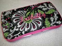 Personalized Baby Girl Hot Pink and Lime Wipe Case by grinsandgigglesbaby1, $12.50