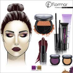 Sombra lila con toques dorados, un delineado atrevido y unos labios oscuros; el maquillaje perfecto para la noche