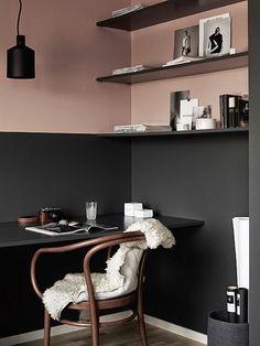 Modern Scandinavian Home Office Interior with Grey and Pink Walls Interior, Interior Inspiration, Workspace Inspiration, Half Painted Walls, Scandinavian Home, Luxury Decor, Home Decor, House Interior, Interior Design