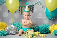 gray, teal and yellow boy cake smash
