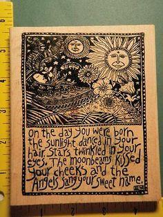 Celestial Boho Collage for Baby Newborn McCarthy RARE American Art Rubber Stamp   eBay