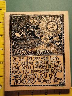 Celestial Boho Collage for Baby Newborn McCarthy RARE American Art Rubber Stamp | eBay