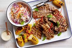 Have dinner on the table in under 30 minutes with these quick and easy barbecued mint lamb chops served with charred corn and chilli slaw.