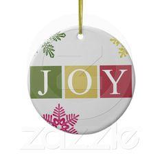 Joy Christmas Snowflakes Ornament