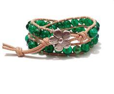 """Armband  """"Chan Luu"""" Stil  Grün (Glasperlen) von Tessie's  Schmuck & Deko auf DaWanda.com"""