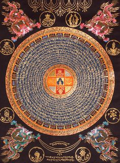 Mandala with four dragons. Get in-depth info on the Chinese Zodiac Sign of Dragon @ http://www.buildingbeautifulsouls.com/zodiac-signs/funny-horoscopes/funny-chinese-zodiac/enter-year-dragon/