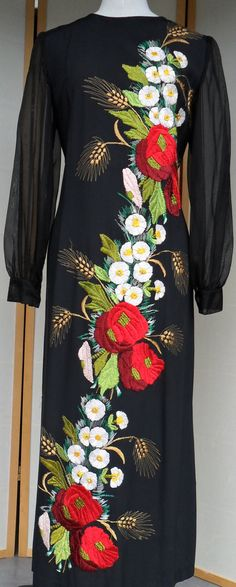 1960s winter floral evening dress full length with by KateKeys,