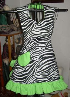 Retro 50's Style Chic Lime Zebra Ruffled Bib Apron MADE by SusyBs, $19.95
