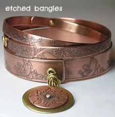 Etched Bangles   By: Jeanette Blix   We have a variety of awesome workshops to attend! You can choose taking a workshop with Christine Damm and learn how to work with polymer clay and create colorful bangles or pendants. We also have some great metalworking classes! Learn how to make colorful metal bezels with Kerry Bogert in her True Colors Workshop or the Elemental Bracelet class with Stacie Florer!   From: jeanetteblix.com
