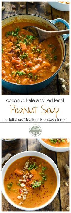 Coconut Red Lentil Peanut Soup SAVE FOR LATER! Coconut Red Lentil Peanut Soup is a hearty West African soup is easy to make, healthy and incredibly delicious. It makes the perfect Meatless Monday dinner recipe that is naturally both vegan and gluten-free. Lentil Recipes, Soup Recipes, Whole Food Recipes, Vegetarian Recipes, Dinner Recipes, Cooking Recipes, Healthy Recipes, Vegetarian Italian, Coconut Recipes