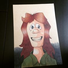 Copic marker cartoon portrait of a woman with long hair. lenwood brown iii