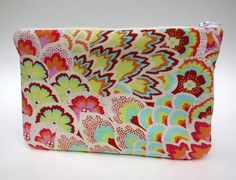 Makeup Bag Slim in Blush Peacock Feathers by paisleybaby on Etsy, $15.00
