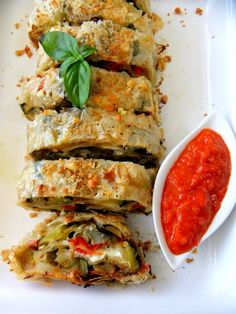 Roasted Vegetable Strudel | JuJu Good News 6 sheets phyllo; roasted eggplant, zucchini, red peppers, and artichokes; cheese