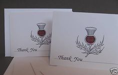 THANK YOU CARDS - SCOTTISH THISTLE DESIGN - WEDDING