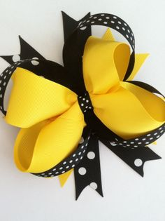 Bumblebee Boutique Hair Bow For sale on Etsy!