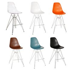 Shop for Eames-Style Counter Stool with Chrome Eiffel Legs. Get free delivery at… Dining Stools, Bungalow, Japanese Bar, Contemporary Bar Stools, Counter Height Bar Stools, Workspace Design, Online Furniture Stores, Foot Rest