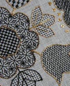 Blackwork Hearts and Flowers - Ta da! - The Unbroken Thread Motifs Blackwork, Blackwork Cross Stitch, Blackwork Embroidery, Ribbon Embroidery, Cross Stitching, Cross Stitch Embroidery, Embroidery Patterns, Cross Stitch Patterns, Embroidery Techniques