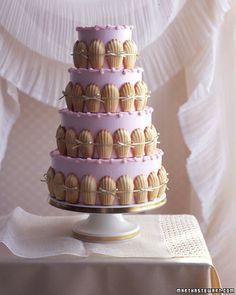 Pink Wedding Cake with Madeleine cookies