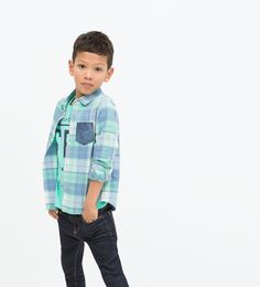 Image 1 of CHECK SHIRT WITH DENIM POCKET from Zara