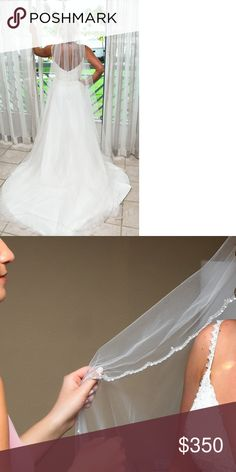 c89ff9902cd7 Catherdral veil Bel Aire cathedral veil. Beading along the edge.  Accessories Hair Accessories