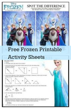 Free Printable Activity Sheets for movie Frozen - Make snowflakes, mazes, spot the difference #printable #frozen