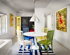 On our Office Space board we had the multi-colored chairs which was a great way to brighten up the office.  It works just as nicely in your home around the kitchen table.  34th Street House by Clayton