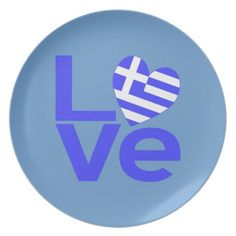 Greece in Love Party Plates -- perfect for an Ohi (oxi) Day party! The word love in blue with a heart shaped Greek flag for the O. Greek Flag, Greek Culture, Paper Artwork, Party Plates, Greek Life, Greek Islands, Love, Cool Stuff, Fun
