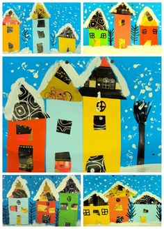 Plastiquem: CASETES NEVADES - paper and white paint to create winter houses. Use rubbing plates to add texture to houses on construction paper. Christmas Art Projects, Winter Art Projects, Kindergarten Art, Preschool Art, Bastelarbeit Winter, Arte Elemental, First Grade Art, Ecole Art, Art Lessons Elementary