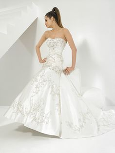 GlamourousEmbroidery Strapless Natural Waist Cathedral Train Satin Wedding Dress