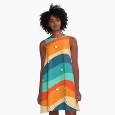 """""""Summer Aesthetic Stars Pattern"""" A-Line Dress by ind3finite   Redbubble Summer Aesthetic, Star Patterns, Cotton Tote Bags, Chiffon Tops, Summer Dresses, Stars, Retro, Womens Fashion, Artists"""