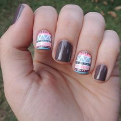 tribal nails, boho chic