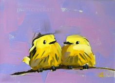 two yellow warblers on branch print by moulton 6 x 8 inches prattcreekart. $9.00, via Etsy.